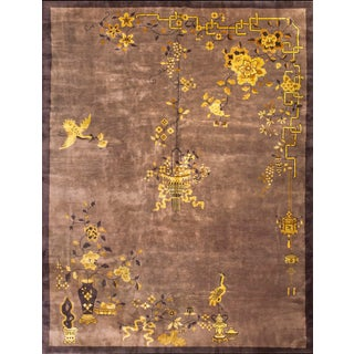 1920s Antique Chinese Art Deco Rug-8′10″ × 11′6″ For Sale