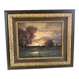 """Dusk"" Contemporary Landscape Oil Painting, Framed For Sale"