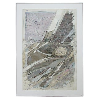 Mid-Century Modern Ray Frost Fleming Signed Abstract Watercolor Painting 1970s For Sale