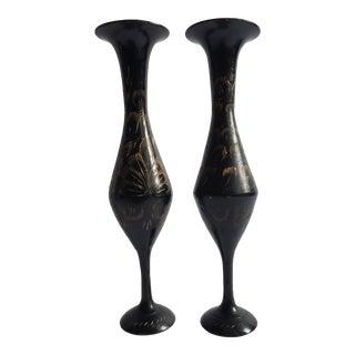Vintage Indian Black Metal Etched Vases - a Pair For Sale