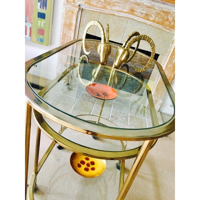 Mid Century Bar Cart Brass Swivel Triple Tiered - Image 5 of 11