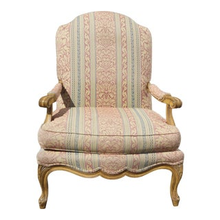 Vintage French Country Rose Stripped Lounge Arm Chair by Century Furniture Co. For Sale