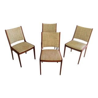 Mid-Century Modern Johannes Andersen Set of Four Refinished Teak Dining Chairs, Inc. Reupholstery For Sale