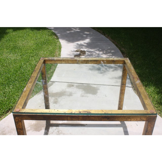 Vintage Modernist Gilt Metal Parsons Table with Thick Glass Top - Image 7 of 10