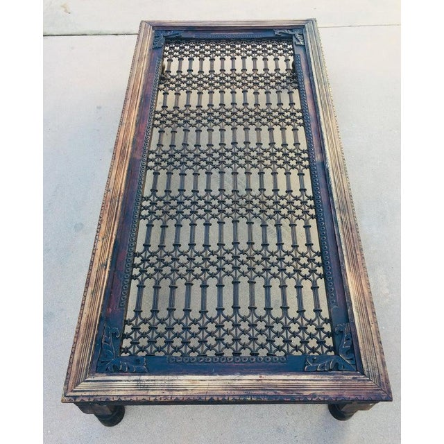 Teak Wood Large Coffee Table With Iron Inset Jali Work For Sale - Image 9 of 13
