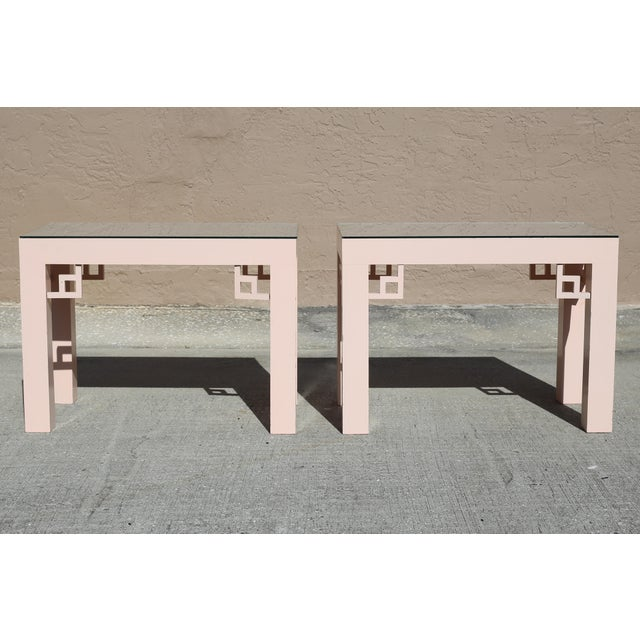 Vintage Blush Laminate Side Tables With Corner Accents and Glass Tops - a Pair For Sale - Image 9 of 13