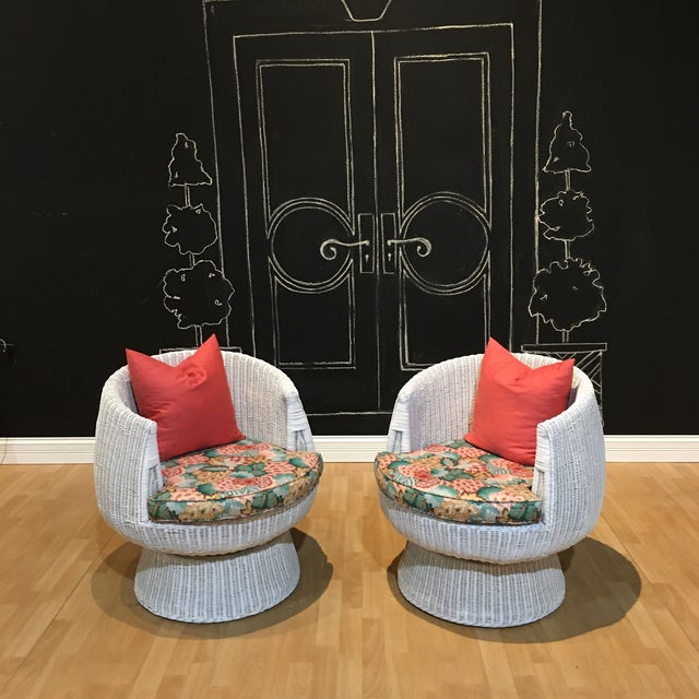 Wood 1960s Rattan Swivel Tulip Chairs - A Pair For Sale - Image 7 of 7