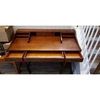 20th Century Campaign Mahogany Writing Desk With Sawhorse Legs Preview