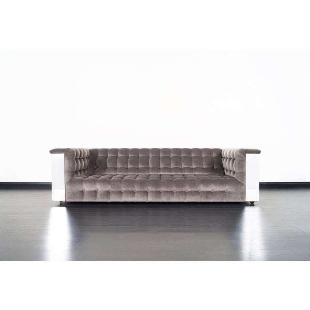 "1960s Vintage Chrome ""Cityscape"" Sofa For Sale - Image 5 of 9"