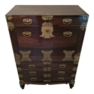 Antique Chinese Tigerwood Oak 8-Drawer Chest Secretary W/Brass Hardware & Coins For Sale