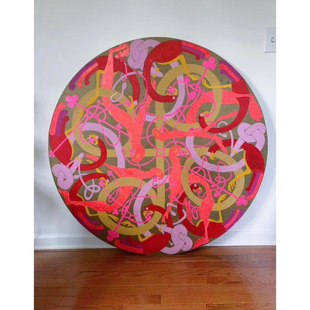 Hot Pink Vintage Large Round Psychedelic Bird and Snake Painting For Sale - Image 8 of 8