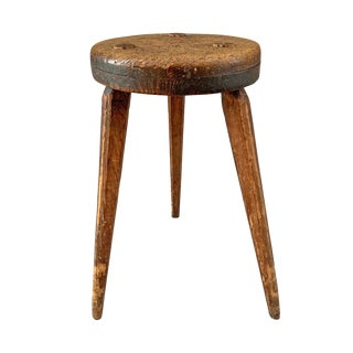 19th Century American Oak Three-Legged Stool For Sale