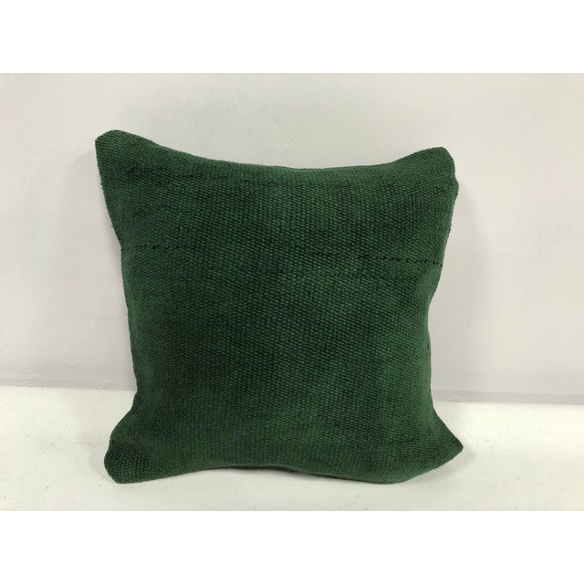Turkish Handmade Antique Green Tribal Decorative Kilim Pillow For Sale In Phoenix - Image 6 of 6
