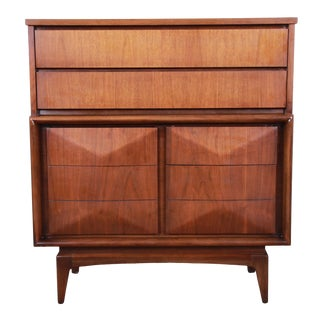 Mid-Century Modern Sculpted Walnut Diamond Front Highboy Dresser by United For Sale