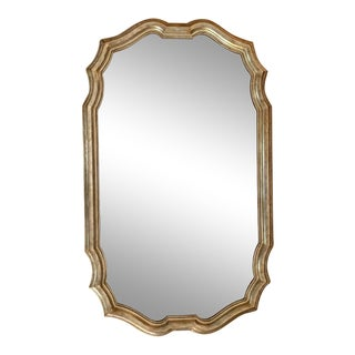 Final Markdown 1980s Vintage Friedman Brothers Tall Carved Silver Leaf and Gilt Wood Wall Mirror For Sale