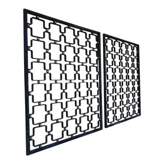 Iron & Brass Architectural Screens - a Pair For Sale