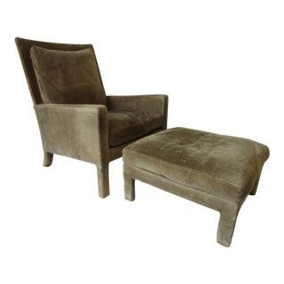 Milo Baughman Suede Lounge Chair / Ottoman for Thayer Coggin For Sale