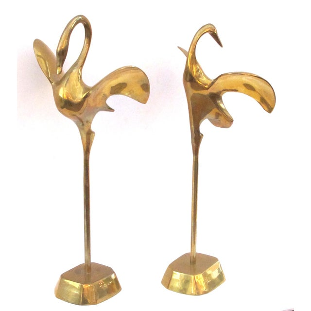 A Graceful Pair of Stylized Solid Brass Cranes For Sale In San Francisco - Image 6 of 7