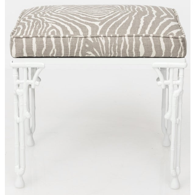 Asian Chinoiserie White Metal Bamboo Style Console and Bench For Sale - Image 3 of 12