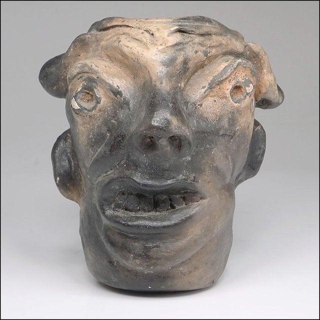 Folk Art Georgia Blizzard Vintage Folk Art Old Devil Pottery Sculpture Face Jug Cup For Sale - Image 3 of 13