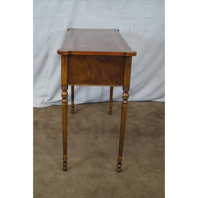 Traditional English Burl Walnut Sheraton Style Console Table For Sale - Image 3 of 10