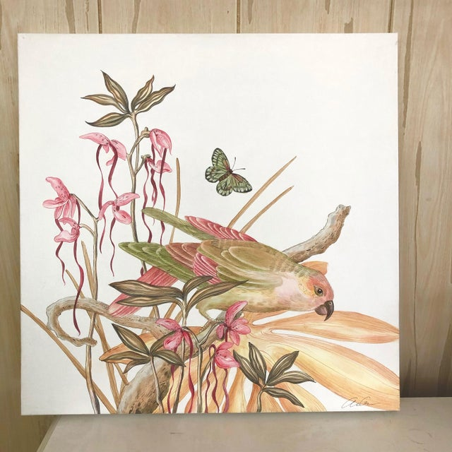 """""""A Little Bird Told Me"""" Tropical Chinoiserie by Allison Cosmos For Sale In Los Angeles - Image 6 of 6"""