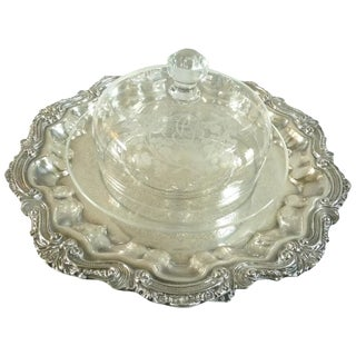 Antique Baccarat Crystal Cheese Bell Dome With Platter Engraved Monogram Bc For Sale