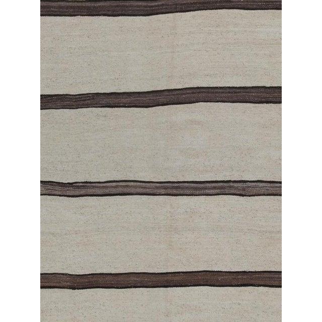 Fabric Banded Kilim Wide Runner For Sale - Image 7 of 8