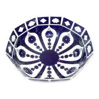 Vintage Uzbek-Style Dark Blue & White Octagon Shaped Serving Bowl For Sale