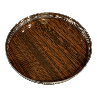 Mid 20th Century Vintage Sheffield Silverplate & Rosewood Formica Serving Tray For Sale