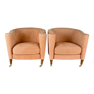 Pair of Modern Barrel Chairs in Peach Suede Italy 1980s For Sale
