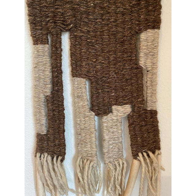 Hand Woven Raw Wool Textile With Cow Vertebrae For Sale - Image 4 of 9