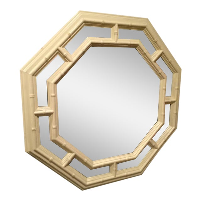 Faux Bamboo Hollywood Regency Octagonal Mirror For Sale - Image 11 of 11