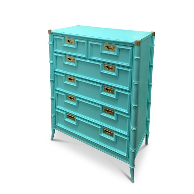 Chinoiserie Vintage Century Furniture Chinoiserie Aqua Faux Bamboo Highboy Dresser For Sale - Image 3 of 9