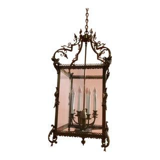 Vintage Brass 4 Sided Angels Gargoyles Hanging Chandelier For Sale