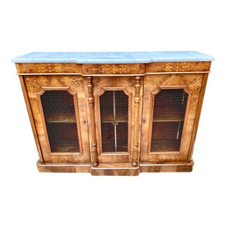Mid 19th Century English Regency Walnut Credenza With Boxwood Marquetry For Sale