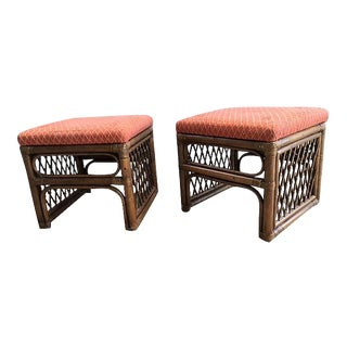 1960s Mid-Century Modern Tropical Modern Rattan Benches - a Pair
