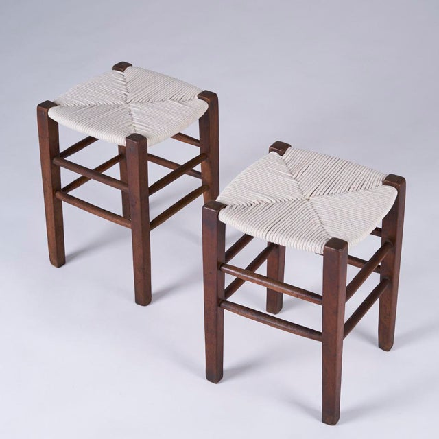 Textile Vintage Mid Century Hand Woven Stools- A Pair For Sale - Image 7 of 7