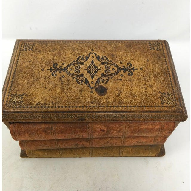 Brown Vintage French Book Style Cigarette Box Desk Organizer For Sale - Image 8 of 12