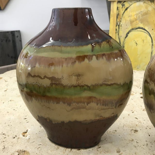 1980s Mid Century Terracotta Vases - a Pair For Sale - Image 4 of 10