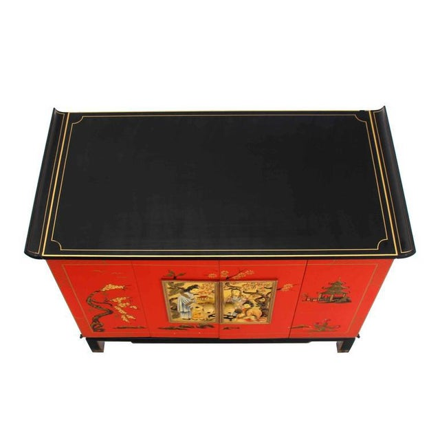 Asian Asian Black and Red Lacquer 2-Tone Cabinet Bachelor Chest For Sale - Image 3 of 11
