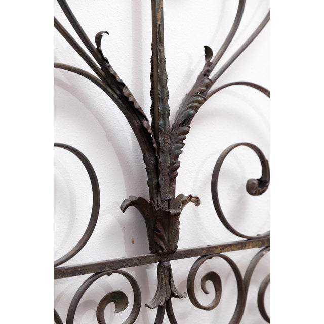 Early 19th Century Pair of 19th Century French Forged Iron Gates, later adapted as a Headboard For Sale - Image 5 of 7