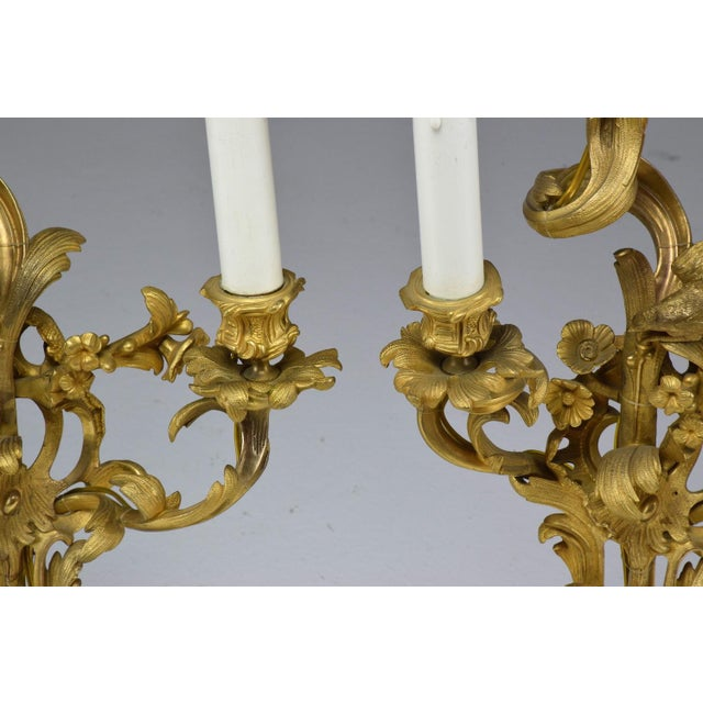 French Pair of Antique Louis VXI Ormolu Electrified Candelabras For Sale - Image 11 of 13