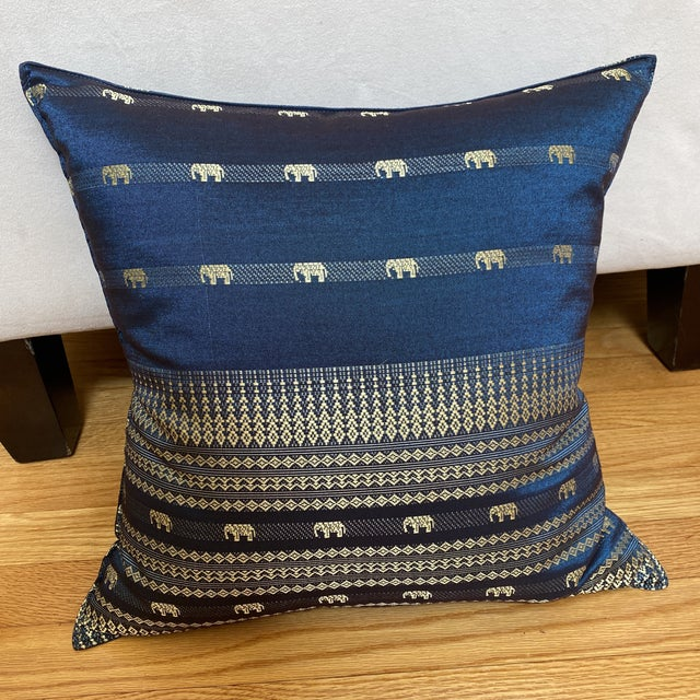 Blue Thai Silk Pillow With Elephant Motif For Sale - Image 9 of 13