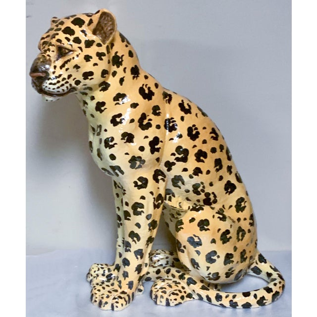 Mother and Baby Italian Terracotta Leopard Figurines For Sale In Atlanta - Image 6 of 9