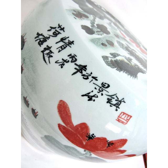 Light Gray Vintage Fish & Lotus Flower Chinese Ceramic Drum Seat or Garden Stool, Side Table, Pedestal For Sale - Image 8 of 8