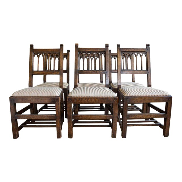 Set of Six Oak Gothic Revival Pew Chairs from Riverside Church - Image 1 of 11