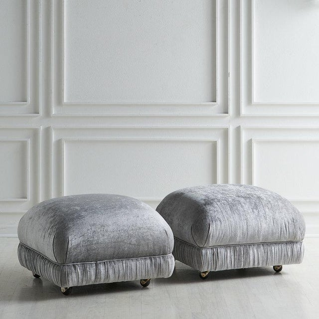 """Metal A Pair of """"Souffle"""" Style Ottomans on Casters For Sale - Image 7 of 7"""