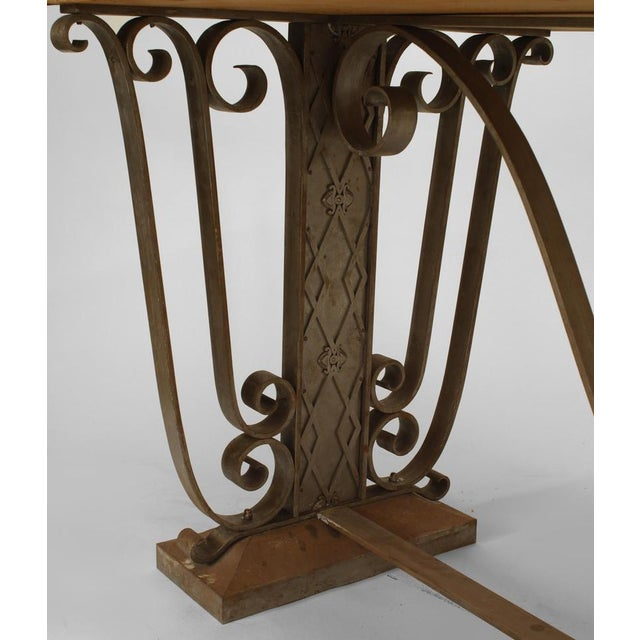Art Deco French Art Deco Large Rectangular Iron Scroll Side Center Table For Sale - Image 3 of 8