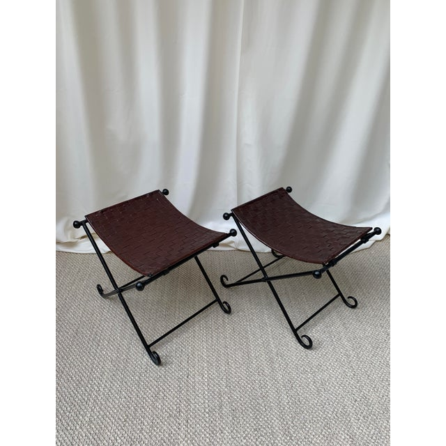 Vintage Woven Leather and Iron Footstools - a Pair For Sale - Image 10 of 10